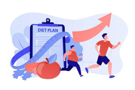 Businessman running and losing weight with diet plan and healthy food, tiny people. Weight loss diet, low-carb diet, healthy meal food concept. Pinkish coral bluevector isolated illustration Illusztráció