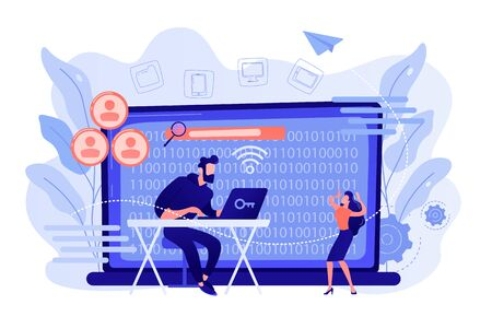 Hacker gathering target individuals sensitive data and making it public. Doxing, gathering online information, hacking exploit result concept. Pinkish coral bluevector isolated illustration