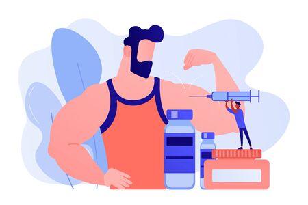 Médico de personas diminutas con jeringa haciendo inyección de esteroides anabólicos a un atleta. Esteroides anabólicos, ayuda anti-envejecimiento, concepto de drogas deportivas ilegales. Ilustración aislada de bluevector coral rosado