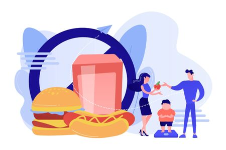 Tiny people, parents and overweight kid on scales, fast food prohibited. Child overweight, children disordered eating, kids energy imbalance concept. Pinkish coral bluevector isolated illustration