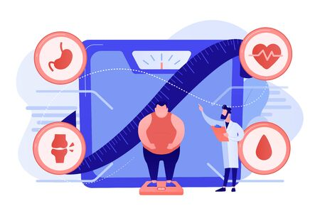 Tiny people, overweight man on scales and doctor showing obesity deseases. Obesity health problem, obesity main causes, overweight treatment concept. Pinkish coral bluevector isolated illustration Stockfoto - 133797072