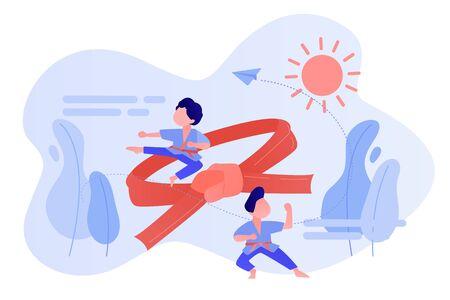 Karate camp concept vector illustration.
