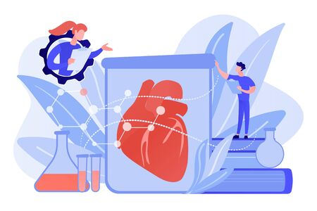 Scientists growing big heart in test tube in laboratory. Lab-grown organs, bioartificial organs and artificial organ concept on white background. Pinkish coral bluevector isolated illustration Stockfoto - 133797928