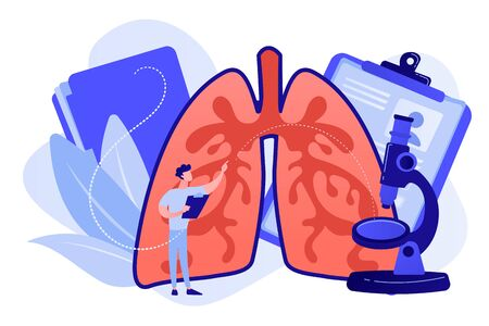 Doctor examines huge lungs desease and microscope. Obstructive pulmonary disease, chronic bronchitis and emphysema concept on white background. Pinkish coral bluevector vector isolated illustration