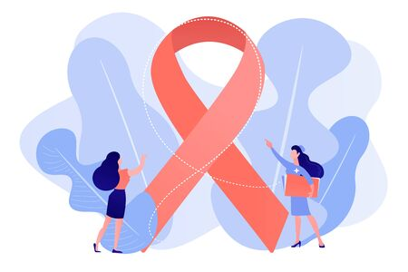 Doctor showing breast cancer awareness ribbon to the female patient. Breast cancer, women oncology factor, breast cancer prevention concept. Pinkish coral bluevector vector isolated illustration