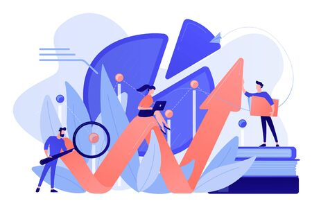 People recording analytics data of the IT project identifying business needs and determining solutions to business problems. Business analysis IT concept. Pinkish coral blue palette. Vector illustration Çizim