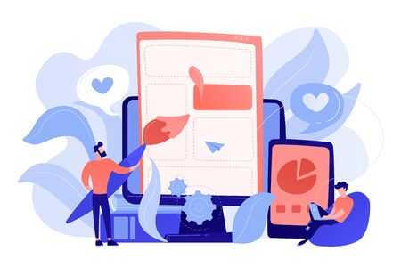 People drawing web page elements on the smartphone and LCD screen. Front end development it concept. Software development process. Pinkish coral blue palette. Vector illustration on white background
