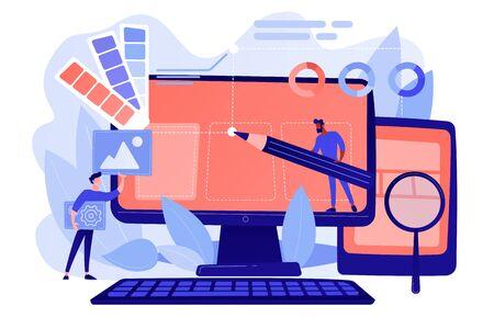 Designer arbeiten an der Gestaltung der Webseite. Webdesign, User Interface UI und User Experience UX Content Organisation. Entwicklungskonzept für Webdesign. Rosafarbene korallenblaue Palette. Vektor-Illustration