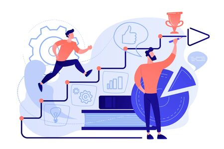 A man running up to the hand drawn stairs as a concept of coaching, business training, goal achievment, success, progress, carreer ladder, pinkish coral blue palette. Vector illustration on white background.