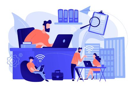 Businessmen use workspace with WiFi reserved on-demand for work, meeting. On-demand workspace, dedicated meeting room, business workspace concept. Pinkish coral bluevector isolated illustration