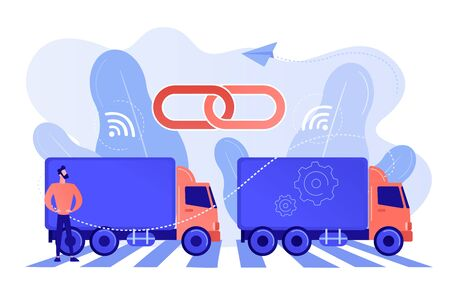 Trucks connected into platoon with connectivity technologies. Truck platooning, autonomous driving trucks, modern logistics technology concept. Pinkish coral bluevector isolated illustration Stockfoto - 133797085