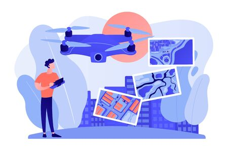 Drone, quadcopter operator, pilot making photos. UAV with camera. Aerial photography, air survey services, drone photo of your event concept. Pinkish coral bluevector isolated illustration Ilustração