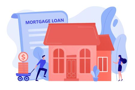 Borrower making mortgage payment for real estate and mortgage loan agreement. Mortgage loan, home bank credit, real estate services concept. Pinkish coral bluevector isolated illustration Stock Illustratie