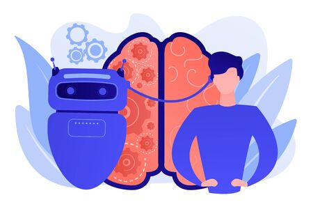 Modern robot artificial intelligence connected to human brain. Augmented intelligence, human intelligence enhance, AI human support concept. Pinkish coral bluevector isolated illustration