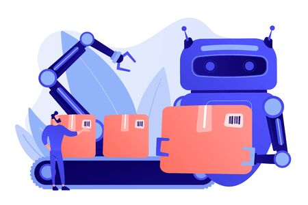 Robot substituting human working with boxes on conveyor belt and robotic arm. Labor substitution, man versus robot, robotics labor control concept. Pinkish coral bluevector isolated illustration