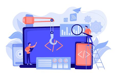 Engineer and developer with laptop and tablet code. Cross-platform development, cross-platform operating systems and software environments concept. Pinkish coral bluevector isolated illustration Stock Illustratie