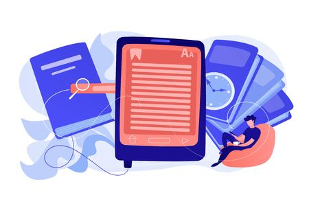 User reading ebook on tablet and books. Searchable digital library, education online, e-learning, easy access knowledge and transportation concept. Vector isolated illustration.