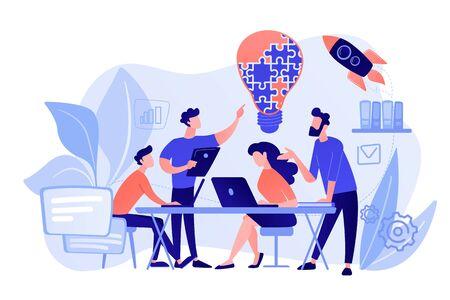 Business team brainstorm idee en gloeilamp van puzzel. Werkende teamsamenwerking, samenwerking tussen ondernemingen, concept voor wederzijdse bijstand van collega's. Rozeachtige koraal bluevector geïsoleerde illustratie