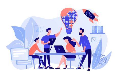 Geschäftsteam-Brainstorming-Idee und Glühbirne aus Puzzle. Zusammenarbeit im Team, Zusammenarbeit im Unternehmen, Konzept der gegenseitigen Unterstützung der Kollegen. Rosa korallenblaue Vektor-isolierte Darstellung