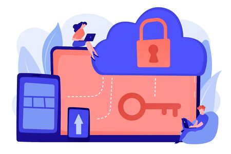 Architect and engineer working on technologies and controls to protect data and applications. Cloud computing and cloud information security concept. Pinkish coral bluevector isolated illustration