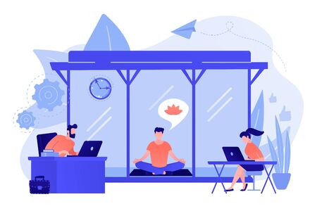 Business people working at laptops in office with meditation and relax area. Office meditation room, meditation pod, office relaxing place concept. Pinkish coral bluevector isolated illustration