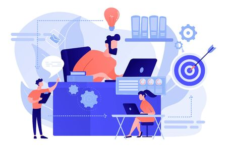 Business team and work process steps from idea to target. Business workflow, business process efficiency, working activity pattern concept. Pinkish coral bluevector isolated illustration Stockfoto - 133797945