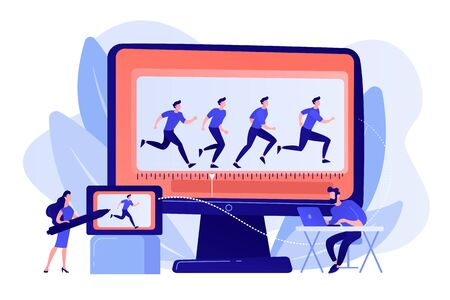 Animator working on character movement. Designing frames of walking. Computer animation, cartoon video creation, make your story alive concept. Pinkish coral bluevector isolated illustration Illustration