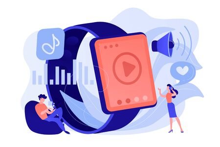 Users listening and huge smartwatch with player icon. Smartwatch player, smartwatch media and portable media player concept on white background. Pinkish coral bluevector isolated illustration Stockfoto - 133798034