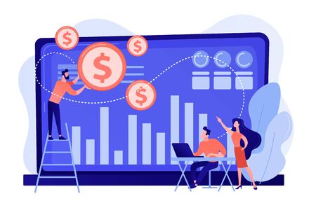 Tiny business people and analysts transforming data into money. Data monetization, monetizing of data services, selling of data analysis concept. Pinkish coral bluevector isolated illustration Illustration