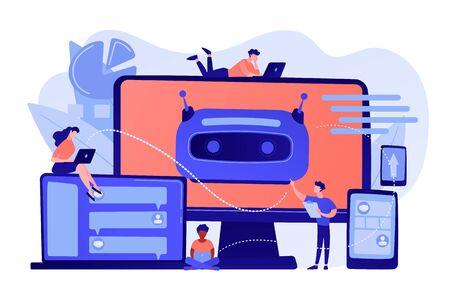 Developers building, testing and deploying chatbots on platforms. Chatbot platform, virtual assistant development, cross-platform chatbot concept. Pinkish coral bluevector isolated illustration
