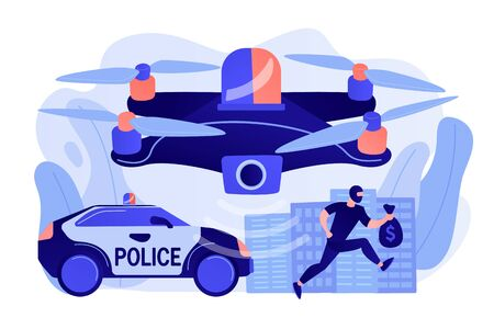 Police car and drone tracking thieve in mask with money and crime scene. Law enforcement drones, police drone use, smart city IoT tools concept. Pinkish coral bluevector isolated illustration Иллюстрация
