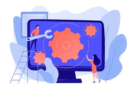 Computer technician with wrench repairing computer screen with gears. Computer service, laptop repair center, notebook setup service concept. Pinkish coral bluevector isolated illustration