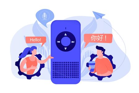 Voice assistant translating into foreign languages. Voice activated digital assistants, smart speaker language support, internet of things concept. Vector isolated illustration.