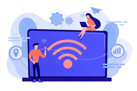 Business people using laptop and smartphone with connection. connection, communication technology, free internet services concept. Pinkish coral bluevector isolated illustration