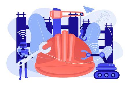 Robotics construction concept vector illustration.