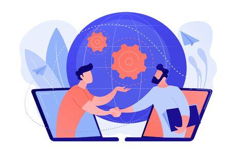 Online conferentie en business concept vectorillustratie.