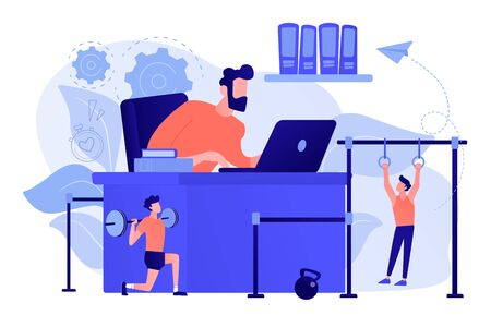 Fitness-focused workspace concept vector illustration.