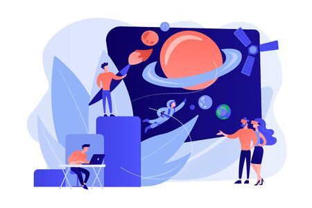 Virtual world development concept vector illustration