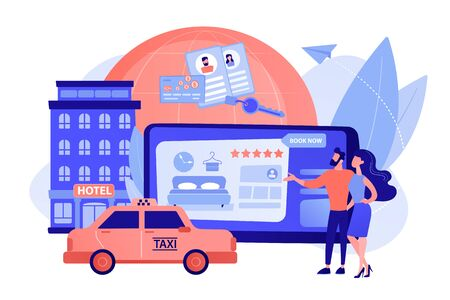 Online booking services concept vector illustration