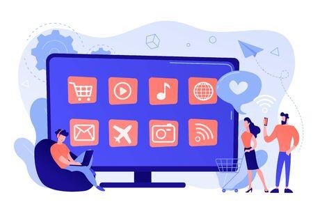 Smart TV applications concept vector illustration.