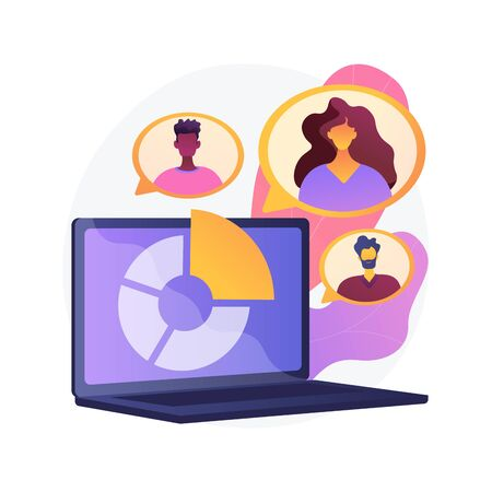 Social research. Online questionnaire, Internet survey, sociology science. Pie chart on laptop screen. Sociological poll results isolate design element. Vector isolated concept metaphor illustration