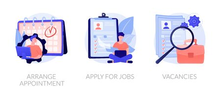 Recruitment interview. Work position sourcing. Employment website. Business recruiting. Arrange appointment, apply for jobs, vacancies metaphors. Vector isolated concept metaphor illustrations Ilustracja