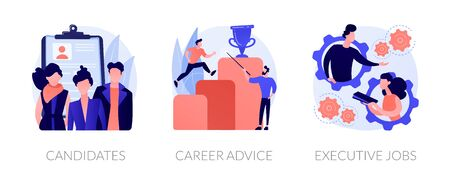 Recruitment and headhunting agency, employment service icons set. Employees hiring. Candidates, career advice, executive jobs metaphors. Vector isolated concept metaphor illustrations Ilustracja
