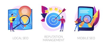 SEO management vector concept metaphors. Illustration