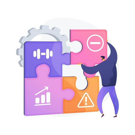 SWOT analysis. Strengths and weaknesses, threats and opportunities assessment, project success evaluation. Crisis manager planning enterprise activity. Vector isolated concept metaphor illustration