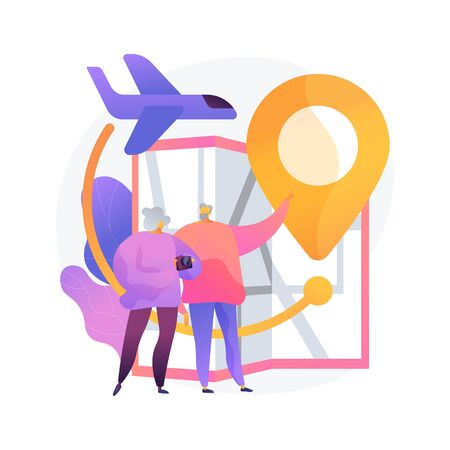Retired people travel. Pensioners vacation, elderly couple trip, old age active lifestyle. Senile spouses planning journey route, choosing destination. Vector isolated concept metaphor illustration Vettoriali