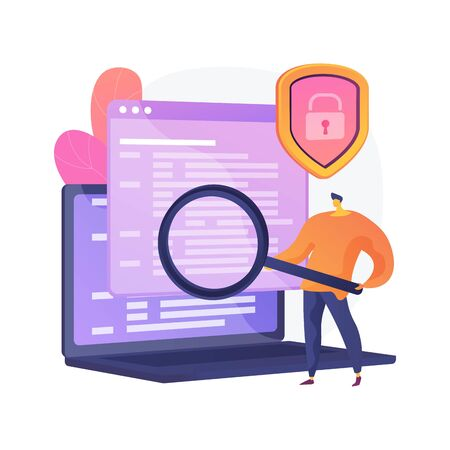 Computer forensic science. Digital evidence analysis, cybercrime investigation, data recovering. Cybersecurity expert identifying fraudulent activity. Vector isolated concept metaphor illustration 일러스트
