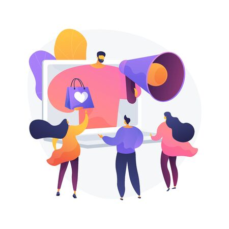 Bonus program, discounts and gifts, advertising campaign. Offer for buyers, merchandise promotion. Promoter with megaphone cartoon character. Vector isolated concept metaphor illustration.