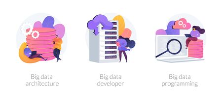 Large amount of information processing technology icons set. Big data architecture, big data developer, big data programming metaphors. Vector isolated concept metaphor illustrations