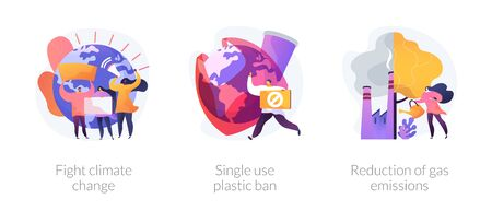 Zero waste vector icons set. Fight climate change, single use plastic ban, reduction of gas emissions metaphors. Global warming problems solutions. Vector isolated concept metaphor illustrations Standard-Bild - 134623555